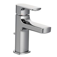 Chrome one-handle low arc bathroom faucet
