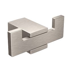 Brushed nickel double robe hook