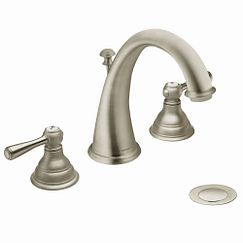 Brushed nickel two-handle high arc bathroom faucet