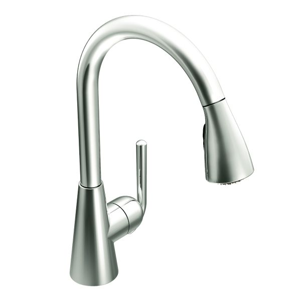 Ascent chrome one-handle high arc pulldown kitchen faucet - S71708 ...